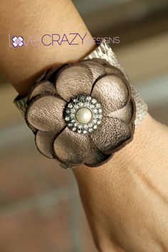 2  inch snakeskin leather cuff with bronze by LoveCrazyDesigns