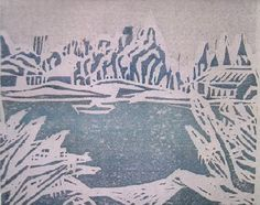 Fujimaki Yoshio  Winter March, 1933 of Jo-numa   Multicolor wood engraving 11.0x13.5.   From the Tokyo National Museum of Modern Arts possession work to restoration   The scene of 城沼 (じょうぬま) of [Tatebayashi is drawn.   The things which there is no announcement history in an exhibition while in life, and were presented to the relative or the friend are two or more existing. ]