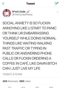 Not sure if I actually have social anxiety seeing as I've never had an actual full-on panic attack but I do get very self-conscious and have a few other symptoms so I can kind of relate Dissociation, Satire, Understanding Anxiety, Explaining Anxiety, Controlling Anxiety, Overcoming Anxiety, Introvert, Feelings, Literatura