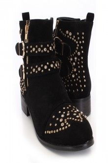 Black Faux Suede Studded Accent Booties Save 90% http://couponssmart.com/store/?si=Ami-Clubwear