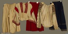 Augusta Auctions, April 2013 - NYC, Lot Four Regional Garments, Hungary, 2 embroidered linen blouses; t/w 1 Romanian red pleated skirt; Clothing And Textile, Piece Of Clothing, Linen Blouse, Linen Pants, Red Pleated Skirt, Historical Clothing, Kimono Top, Auction, Vintage Fashion