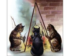 Halloween Cats Card - Vintage Image - Cook Mice in Cauldron Witch Spell Full Moon