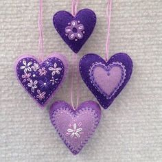 Felt Valentine heart ornaments in lavender & purple Felt Christmas Ornaments, Christmas Crafts, Christmas Tree, Fabric Hearts, Felt Embroidery, Felt Decorations, Heart Crafts, Heart Ornament, Valentine Heart