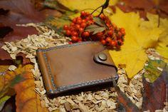 Купить Зажим для денег из натуральной итальянской кожи ручной работы - коричневый, однотонный, зажим для денег