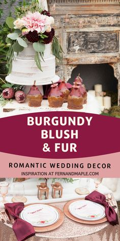 These romantic burgundy, blush, and fur wedding decor ideas are perfect for a fall or winter wedding or shower! Get place setting, sweetheart table, backdrop ideas and more at fernandmaple.com!