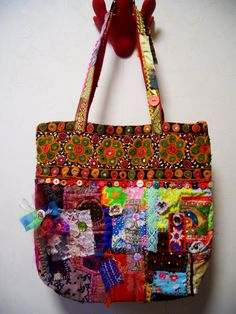 Upcycled Bohemian Patchwork Tote bag. $180.00, via Etsy.