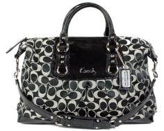 Coach Signature Large Ashley Satchel Duffle Bag Purse 15440 Black White