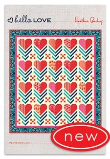 This exciting quilt kit design features hearts and chevrons. The Hello LOVE fabrics shown are inspired by the music of the Beatles are are designed by Heather Bailey. Other fabrics include modern basics from Heather's popular True Colors collection. Modern Quilt Patterns, Fabric Patterns, Sewing Patterns, Quilt Tutorials, Sewing Tutorials, Quilting Designs, Quilt Design, Quilting Ideas, Crochet Hook Set