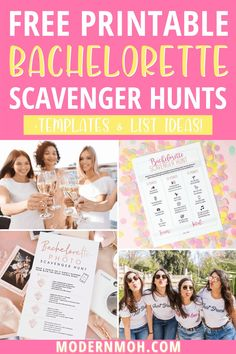 Grab a free printable bachelorette party scavenger hunt + other fun templates! #bachelorettepartyscavengerhunt #bachelorettescavengerhunt #ModernMOH Bachelorette Party Scavenger Hunt, Bachelorette Party Activities, Bachelorette Party Planning, Scavenger Hunt Template, Photo Scavenger Hunt, Girls Weekend, Girls Night, Funny Drinking Games, Pick Up Lines Cheesy