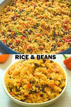 This is THE ONLY Rice and Beans recipe you'll ever need! Made with simple ingredients, this dish is filling and very tasty. Healthy Rice Recipes, Vegetarian Recipes Videos, Bean Recipes, Vegetable Recipes, Mexican Food Recipes, Cooking Recipes, Best Mexican Rice And Beans Recipe, Vegetarian Rice And Beans Recipe, Vegan Rice Dishes