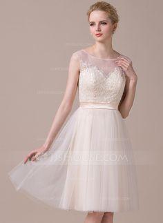 [R$ 543.68] Vestidos princesa/ Formato A Decote redondo Coquetel Tule Renda Vestido de noiva (002059207)