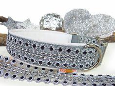 """Halsband """"Black Glamour"""" mit weissem Artleder - Halsband, Geschirr, Leine selbst gestalten - peppetto.de"""
