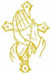 Satin Stitch Embroidery Design: Prayer Hands 3.51 inches H x 2.20 inches W