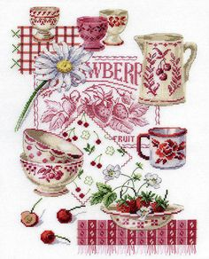 Tea & Fruit Cross Stitch Pattern