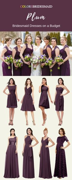 These plum bridesmaid dresses in long and short length can be custom made to all sizes including plu size. They are mostly sold under 100. What affordable bridesmaid dresses are they!