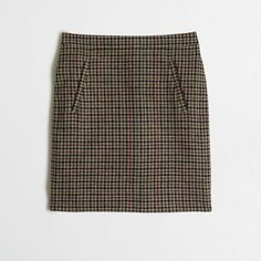 J.Crew Factory zip-pocket wool mini skirt in houndstooth ($50) ❤ liked on Polyvore featuring skirts, mini skirts, skirts/dresses, wool skirt, j. crew skirts, short skirts, mini skirt and houndstooth skirt