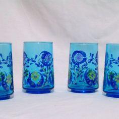 Vtg 50s Hand Painted Blue Floral Tumbler Set of Four Juice Drinking Glasses  #vtg #50s #1950s #HandPaintedFloral #BlueGlassTumblers #Unbranded #kitchenware #JuiceDrinkiingGlasses #glassware #retro #SetOfFour #MothballHavenVintageThreads