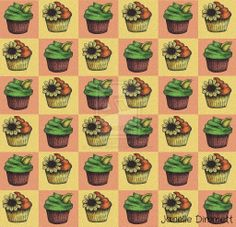 Cupcake Pattern - Janelle Dimmett 2014  Culinary - Surface Design - Pattern Design - Illustration