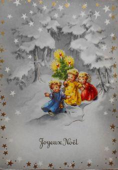 WEIHNACHTEN - 3 kleine ENGEL mit Christbäumchen - 1960   Sammeln & Seltenes, Ansichtskarten, Motive   eBay!