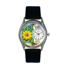 Whimsical Watches Sunflower Black Leather And Silvertone Watch