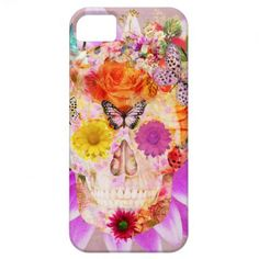 Girly Sugar Skull cute Butterfly Pink Flowers iPhone 5 Cases