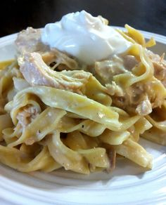 Chicken stroganoff Frozen chicken breast, mushroom soup, cream cheese -- crockpot all day. Serve over rice or noodles.