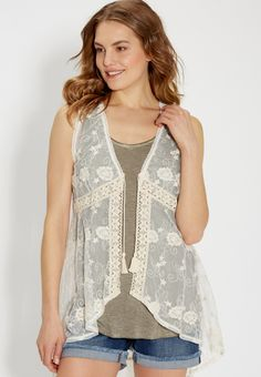 floral embroidered vest with tie front | maurices size s/m