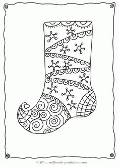 Printable Christmas stocking coloring page. Free PDF download at ...