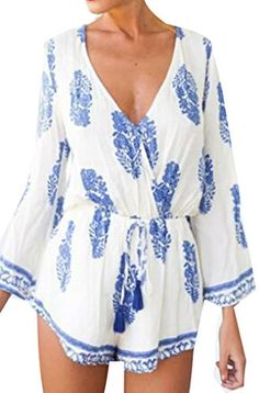 Pandapang Women's Casual Printed V-neck Long Sleeve Tie Waist Rompers