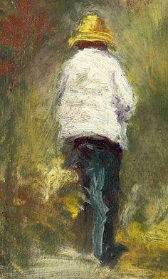BERNARD Emile,1887 - Vincent van Gogh se rendant au Motif à Asnières -   « La mémoire ne retient pas tout, mais ce qui frappe l'esprit. Donc formes et couleurs devenaient simples, dans une égale unité. En peignant de mémoire, j'avais l'avantage d'abolir l'inutile complication des formes et des tons ; il restait un schéma du spectacle regardé. » (Emile BERNARD)