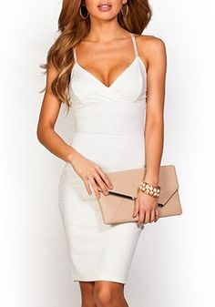 Spaghetti Strap Solid Colour Slimming White Dress | Glygaweb For Beauty & Fashion Designer Watches & Technology
