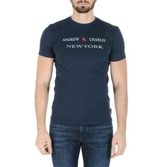 Andrew Charles Mens T-Shirt Short Sleeves Round Neck Blue KEITA  #discount #coloreamore #50%off #coloreamorefashion #sale #bestprices