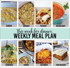 Weekly Meal Plan, Week 1