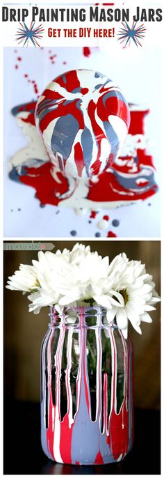 Drip Painting Mason Jars; Learn best paint for drip painting mason jars in this fun and kid friendly (and fun!) mason jar craft DIY