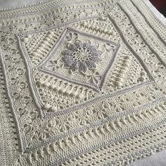 Charlotte is a large crochet square. Dense overlay stitches combine with more lacy parts to create a delicate, vintage feel.block pattern Ravelry: Project Gallery for Charlotte pattern by Dedri Uys It looks very classical in this color but this beaut Crochet Motifs, Crochet Squares, Crochet Granny, Baby Blanket Crochet, Crochet Baby, Granny Squares, Crochet Blankets, Baby Blankets, Afghan Blanket