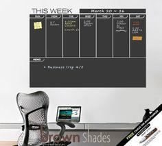 Weekly Wall Planner Chalkboard Decal - FREE Chalk Ink Pen. $49.00, via Etsy.