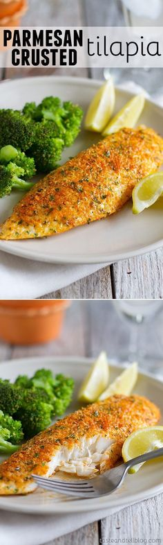 This Parmesan Crusted Tilapia is a simple fish recipe that is done in 20 minutes and will even impress non-fish lovers!: #seafoodrecipes