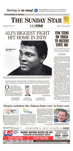 Muhammad Ali remembered - The Indianapolis Star Front Page, Sunday June 5, 2016