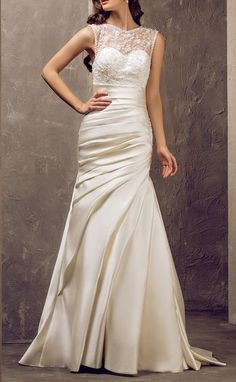 Trumpet/Mermaid Jewel Sweep/Brush Train Satin And Lace Wedding Dress