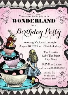Alice in Wonderland party Invitation
