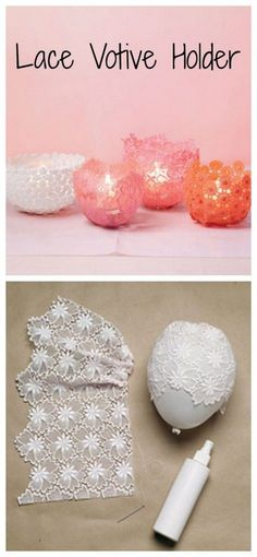 Valentines Day Craft Ideas - Lace votive holder