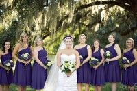 LanierStar Photography | Amelia Island, Jacksonville, St. Augustine, FL Wedding Photographer Blog » love. laughs. photographs. Purple bridesmaids dresses for peacock themed wedding. Glen St Mary Nursery at the Linwood House. Sunset under the oak tree