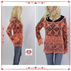 "HANDMADE CROCHET LACE SWEATER Crochet lace in two tone orange color. Very fine mohair yarn. Crew neck. Flower stitch. Triangular cut into sleeves. Fits S or M. Length: 26"". Armpit to armpit 20"". Crochet with tons of Love❤️. Happy Poshing. Aga Handmade by @runwayposh Sweaters"