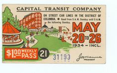 Capital Transit Weekly Pass. Route 20 street car line served Glen Echo.