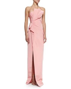 B2TLP J. Mendel Strapless Draped-Side Column Gown