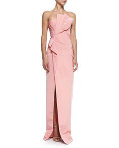 B2TLP J. Mendel Strapless Draped-Side Column Gown