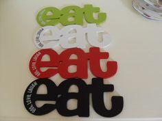 EAT LOVE LAUGH FRIDGE MAGNET BLACK RED GREEN WHITE MAGNETIC WOODEN WORD SIGN