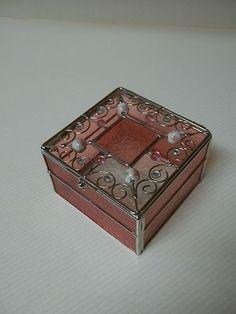 Nice Pink Stained Glass Trinket Jewelry Box   eBay