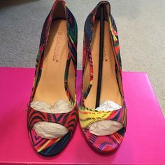 "NIB ""Shalan"" heels Brand new never worn in box. Could fit 5 easily as well 4"" heel. Shoe Dazzle Shoes Heels"