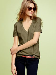 GAP, Mercer v-neck pocket T. Color is kale and is made of pima cotton.  http://www.gap.com/browse/product.do?cid=81542=1=893263=893263092